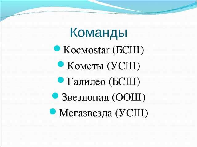 Команды Космоstar (БСШ) Кометы (УСШ) Галилео (БСШ) Звездопад (ООШ) Мегазвезда...