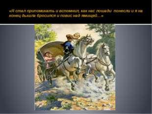 «Я стал припоминать и вспомнил, как нас лошади понесли и я на конец дышла бро