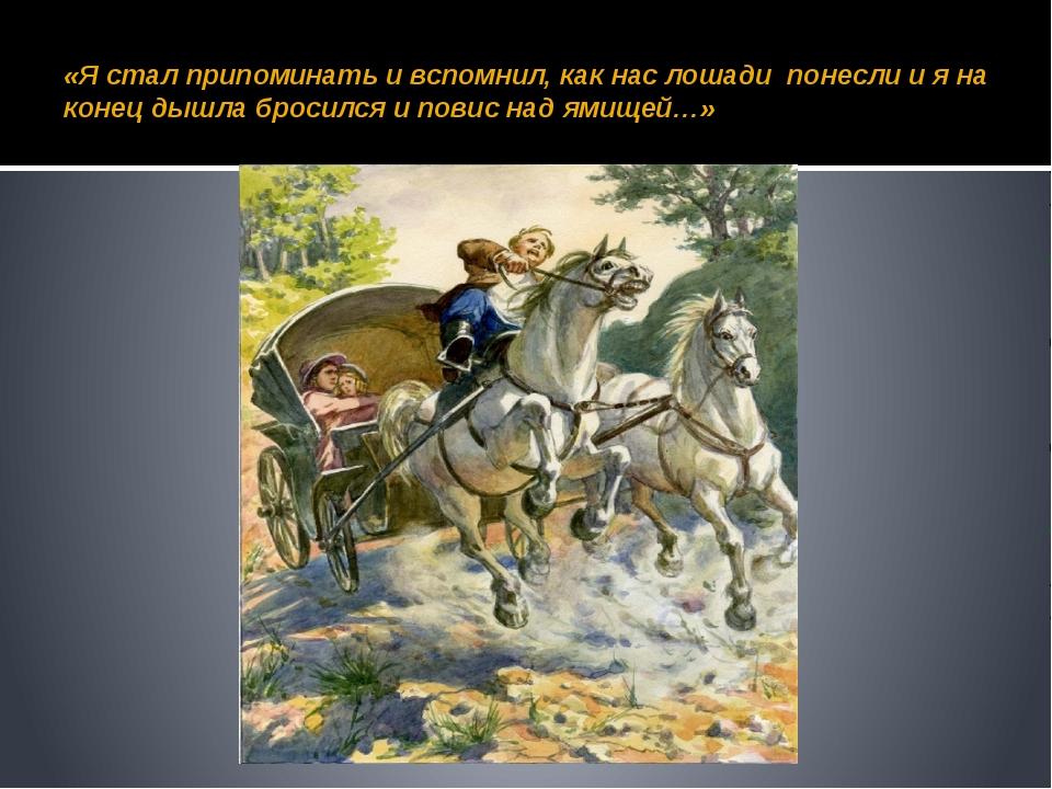 «Я стал припоминать и вспомнил, как нас лошади понесли и я на конец дышла бро...