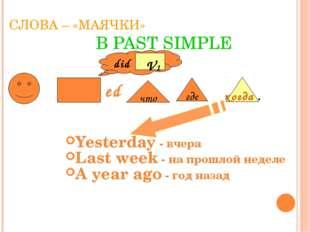 СЛОВА – «МАЯЧКИ» В PAST SIMPLE Yesterday - вчера Last week - на прошлой недел