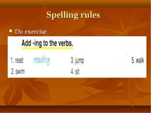 Spelling rules Do exercise