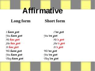 Affirmative Long form Short form  I have gotI've got You have go