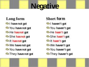 Negative Long form I have not got You have not got He has not got She has