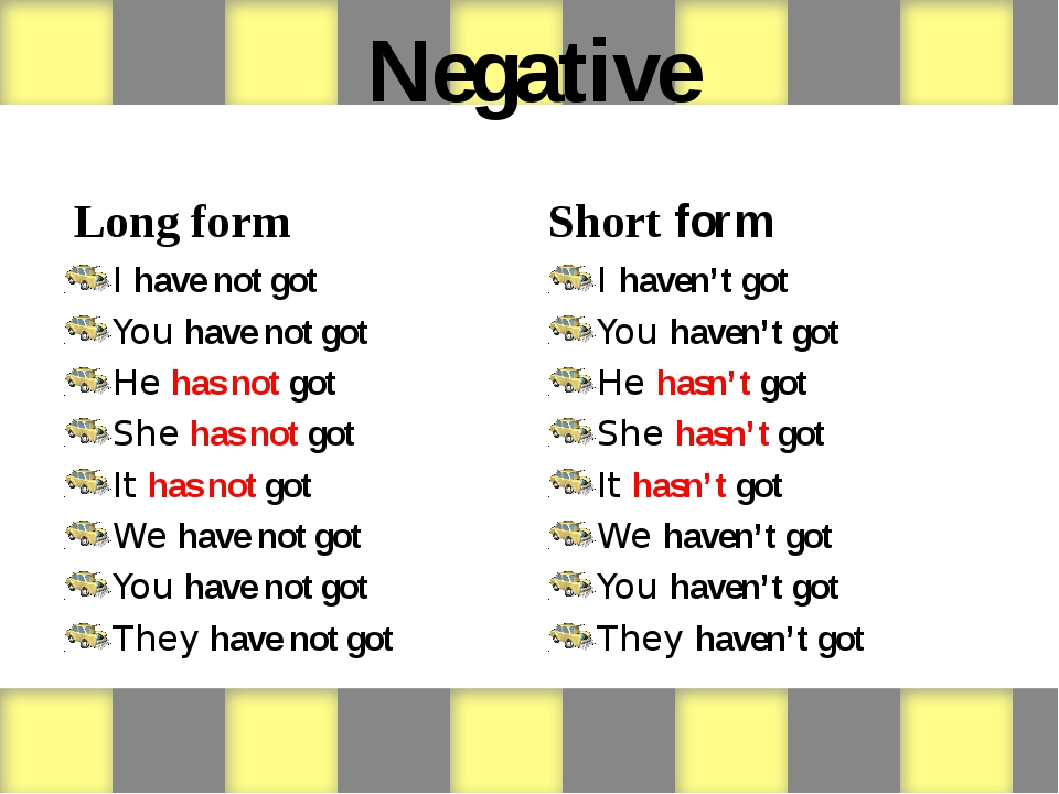 Negative Long form I have not got You have not got He has not got She has...