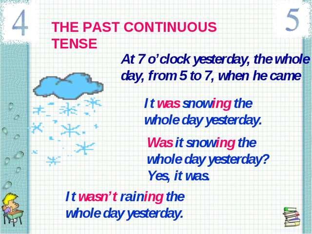 THE PAST CONTINUOUS TENSE At 7 o'clock yesterday, the whole day, from 5 to 7,...