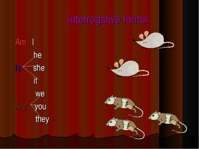 Interrogative forms Am I he Is she it we Are you they