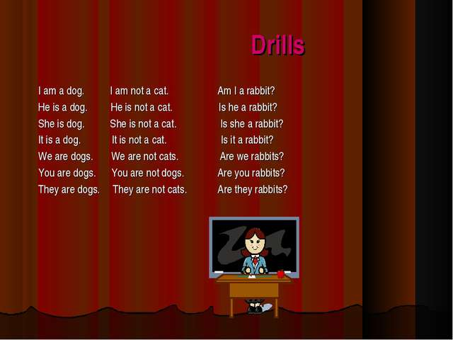 Drills I am a dog. I am not a cat. Am I a rabbit? He is a dog. He is not a ca...