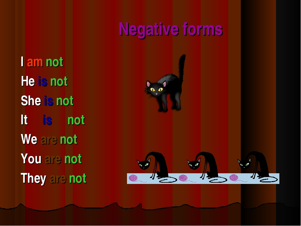 Negative forms I am not He is not She is not It is not We are not You are no...