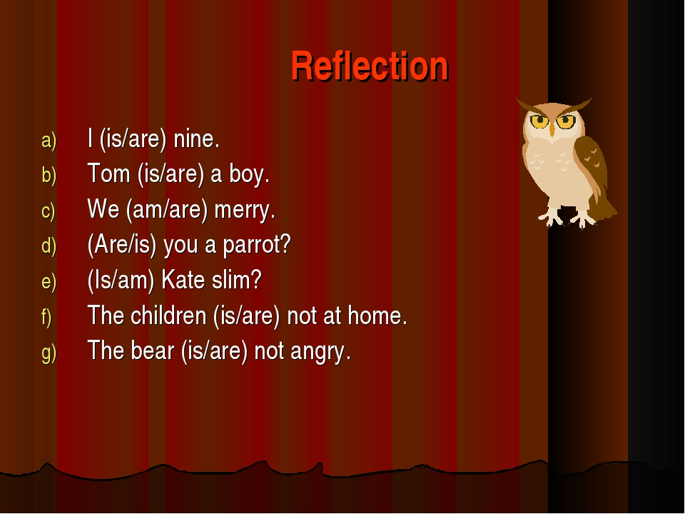Reflection I (is/are) nine. Tom (is/are) a boy. We (am/are) merry. (Are/is)...