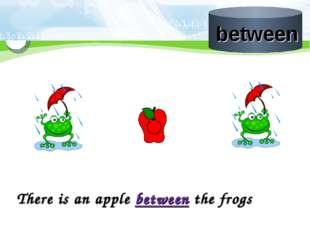There is an apple between the frogs