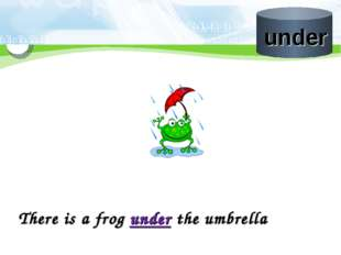There is a frog under the umbrella