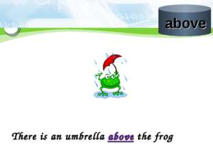 There is an umbrella above the frog