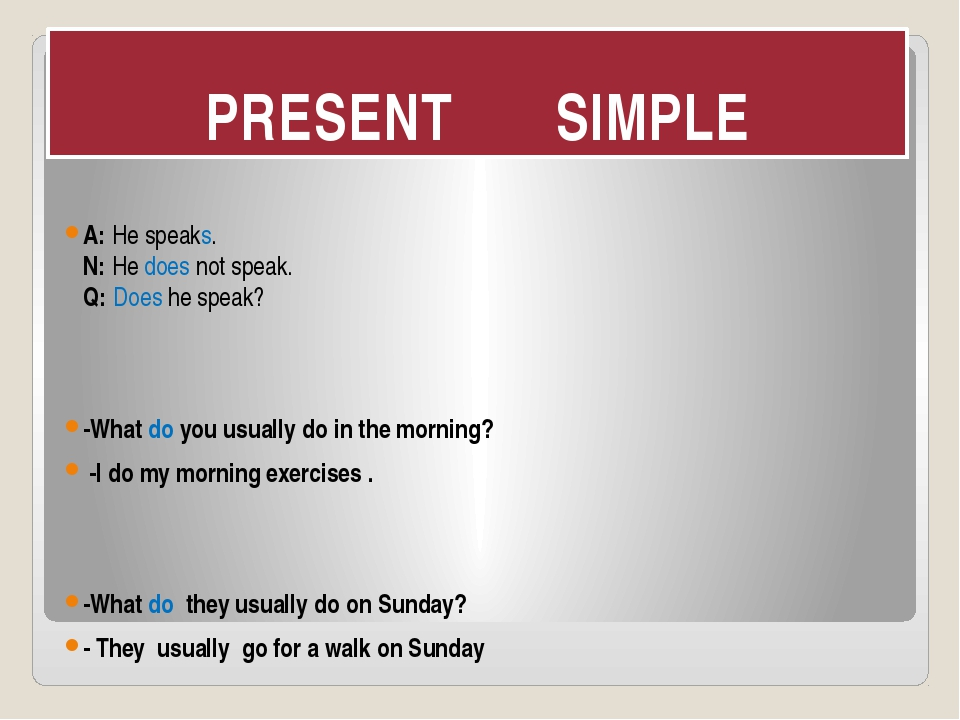 PRESENT SIMPLE A: He speaks. N: He does not speak. Q: Does he speak? -What do...