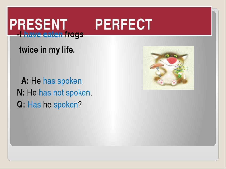 PRESENT PERFECT -I have eaten frogs twice in my life.  A: He has spoken. N: H...