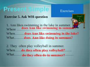 Present Simple Exercises Exercise 5. Ask WH-question Ann likes swimming in th