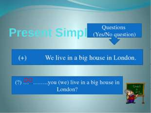 Present Simple Questions (Yes/No question) (+) We live in a big house in Lond