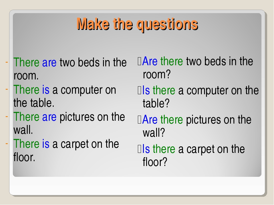 Make the questions There are two beds in the room. There is a computer on the...