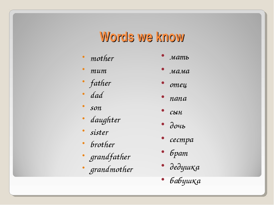 Words we know mother mum father dad son daughter sister brother grandfather g...
