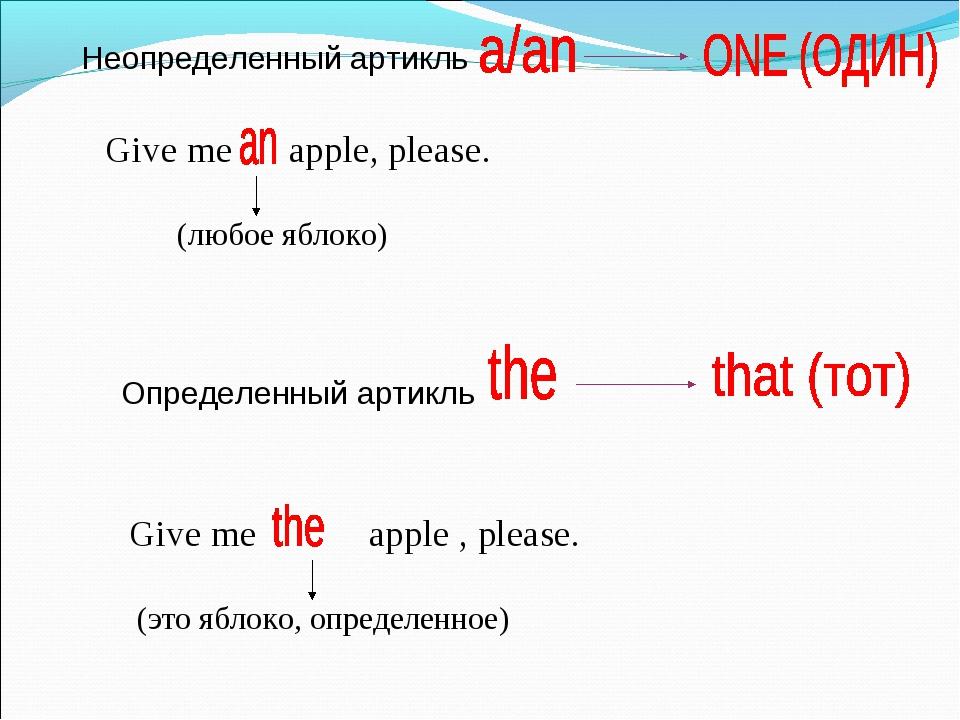 Неопределенный артикль Give me apple, please. (любое яблоко) Определенный арт...