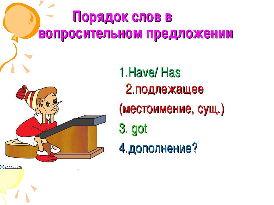 Порядок слов в вопросительном предложении 1.Have/ Has 2.подлежащее (местоимен...