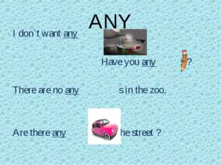 ANY I don`t want any 					Have you any s ? There are no any s in the zoo. Are