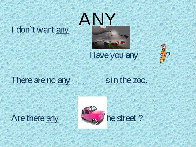 ANY I don`t want any 					Have you any s ? There are no any s in the zoo. Are...