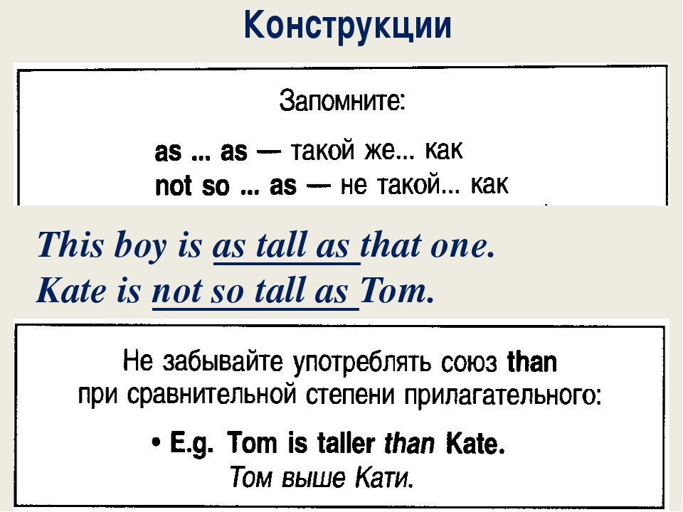 Конструкции This boy is as tall as that one. Kate is not so tall as Tom.