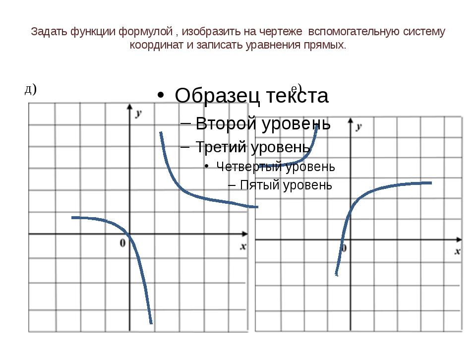Задать функции формулой , изобразить на чертеже вспомогательную систему коорд...