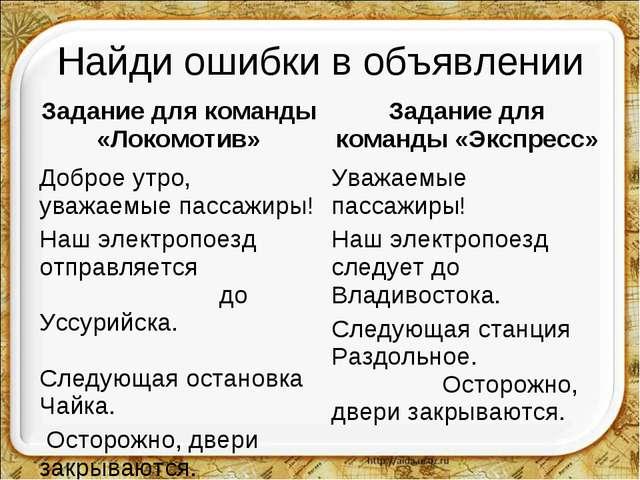 Найди ошибки в объявлении Задание для команды «Локомотив»Задание для команды...