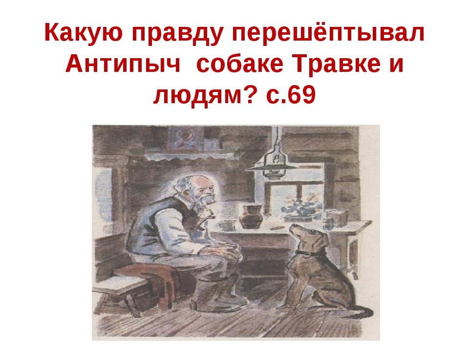 Какую правду перешёптывал Антипыч собаке Травке и людям? с.69