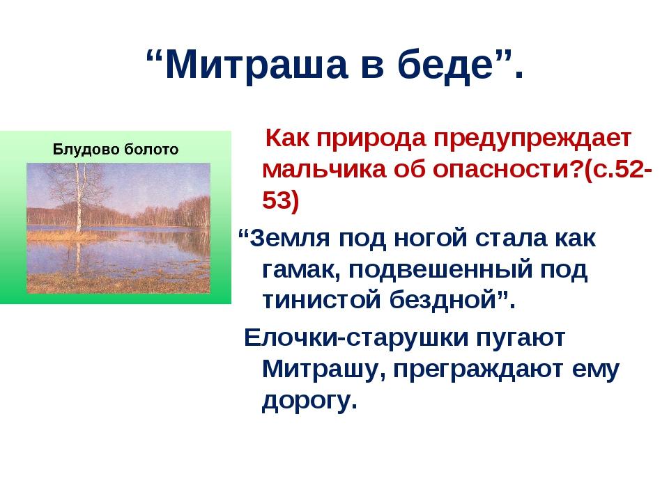 """""""Митраша в беде"""". Как природа предупреждает мальчика об опасности?(с.52-53) """"..."""