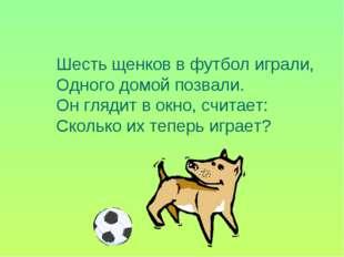 Шесть щенков в футбол играли, Одного домой позвали. Он глядит в окно, считает