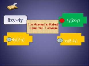 8xy-4y 2 4y(2-y) xy(8-4y) 4y(2x-y) 1 3 Ұлт болашағы білімді ұрпақтың қолында 2