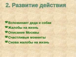 Вспоминает деда и собак Жалобы на жизнь Описание Москвы Счастливые моменты Сн