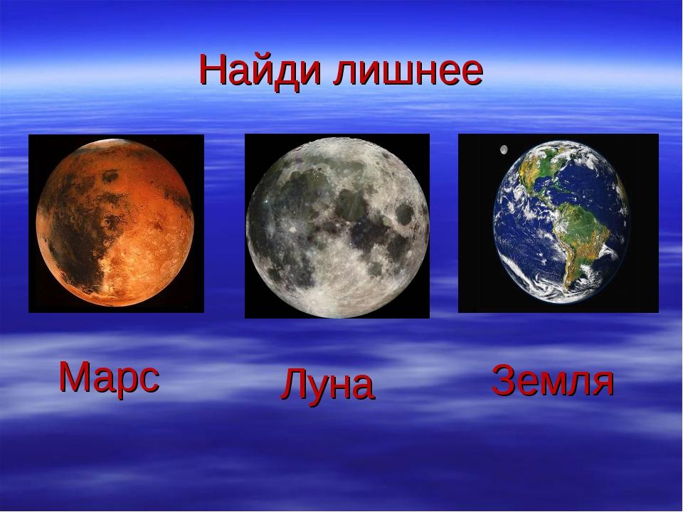Найди лишнее Марс Луна Земля