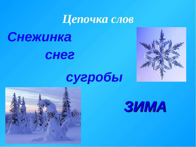 Цепочка слов Снежинка снег сугробы ЗИМА