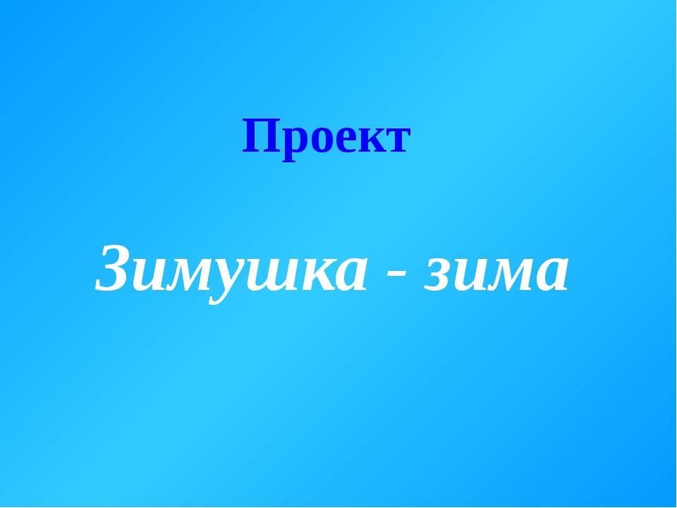 Проект Зимушка - зима