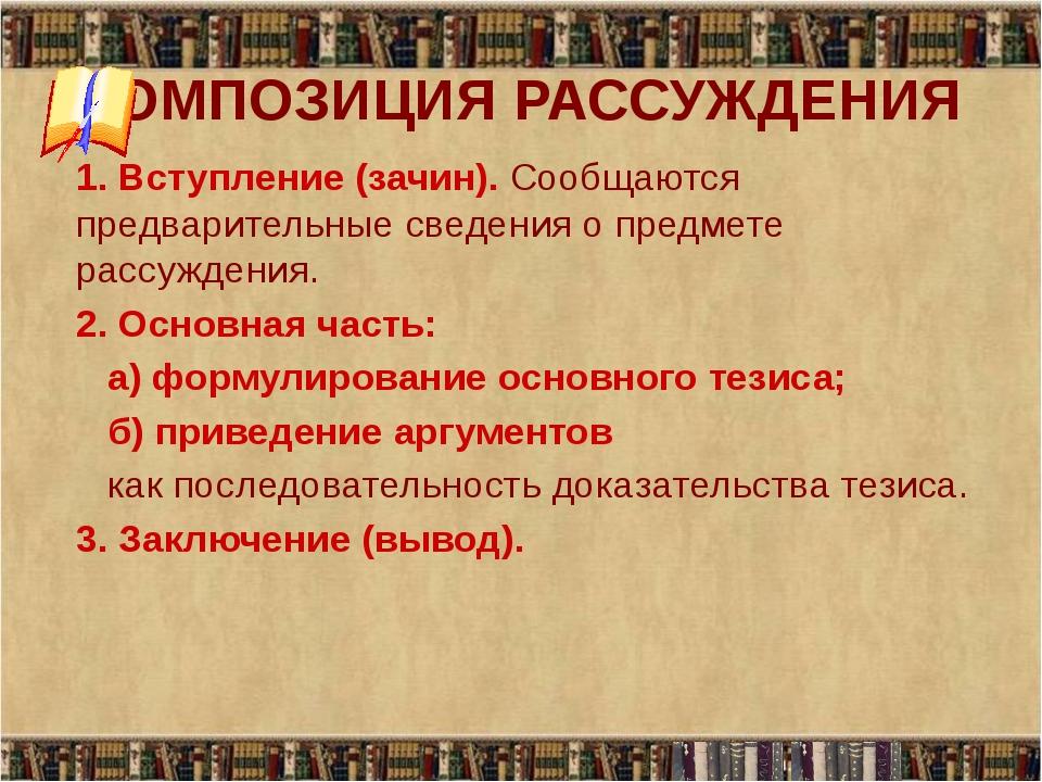 КОМПОЗИЦИЯ РАССУЖДЕНИЯ 1. Вступление (зачин). Сообщаются предварительные све...