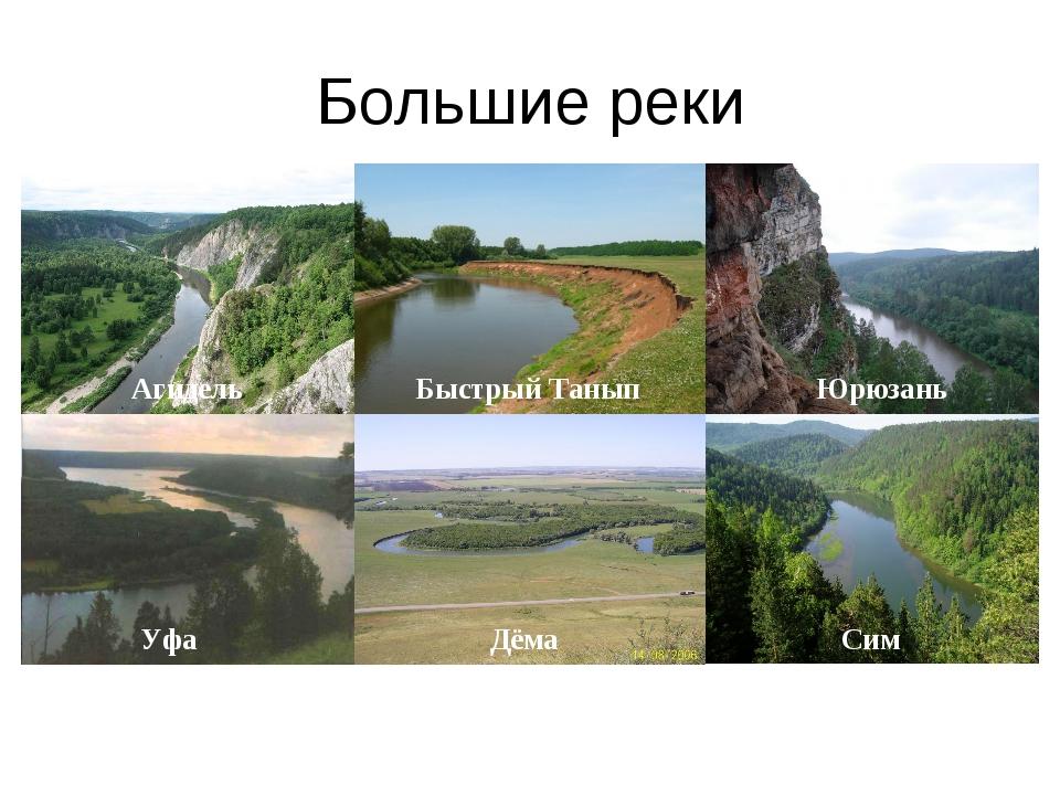 Большие реки Агидель Быстрый Танып Юрюзань Уфа Дёма Сим