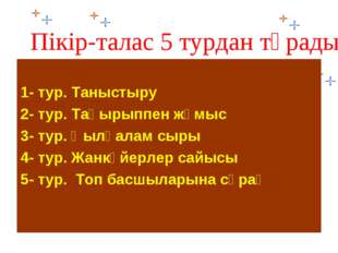 Пікір-талас 5 турдан тұрады: 1- тур. Таныстыру 2- тур. Тақырыппен жұмыс 3- ту
