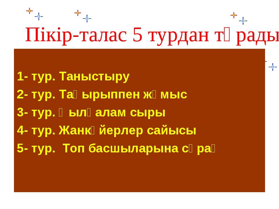 Пікір-талас 5 турдан тұрады: 1- тур. Таныстыру 2- тур. Тақырыппен жұмыс 3- ту...