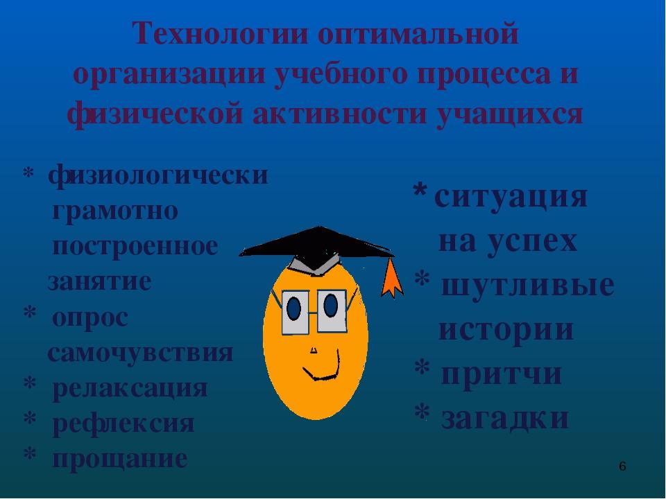 Технологии оптимальной организации учебного процесса и физической активности...