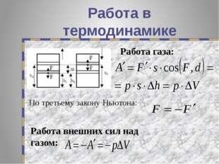 Работа в термодинамике По третьему закону Ньютона: Работа внешних сил над газ