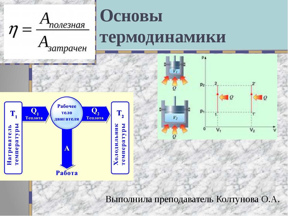 Основы термодинамики Выполнила преподаватель Колтунова О.А.
