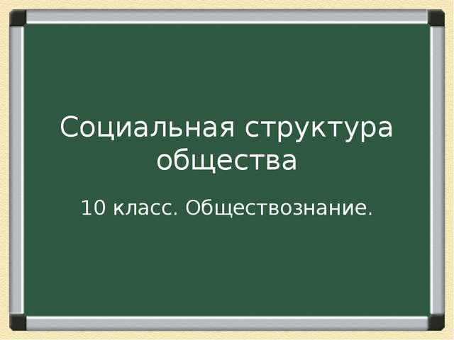 Социальная структура общества 10 класс. Обществознание.