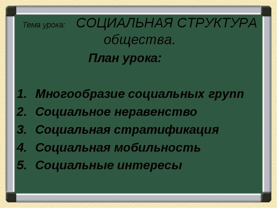 Тема урока: СОЦИАЛЬНАЯ СТРУКТУРА общества. План урока: Многообразие социальны...