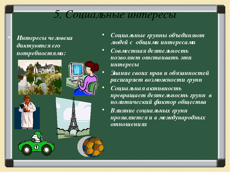 5. Социальные интересы Интересы человека диктуются его потребностями: Социаль...