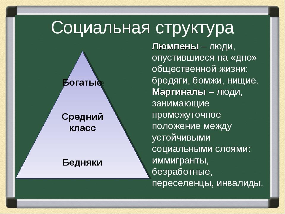 Социальная структура Богатые Средний класс Бедняки Люмпены – люди, опустившие...