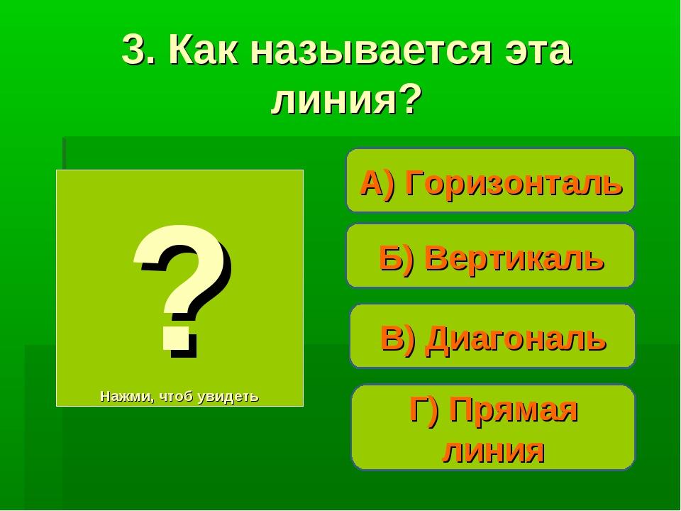 Б) Вертикаль А) Горизонталь Г) Прямая линия ? Нажми, чтоб увидеть 3. Как назы...