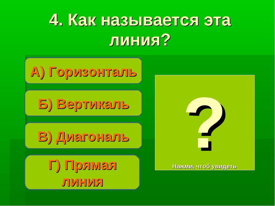Б) Вертикаль А) Горизонталь Г) Прямая линия ? Нажми, чтоб увидеть 4. Как назы...